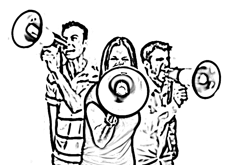 3 youth with megaphones